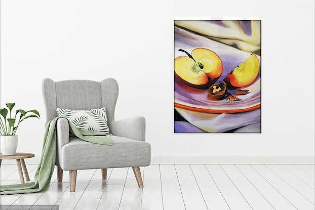 (CreativeWork) SCENES FROM THE LARDER 03 APPLE & WALNUT  by LOUISE GROVE WIECHERS. Acrylic. Shop online at Bluethumb.
