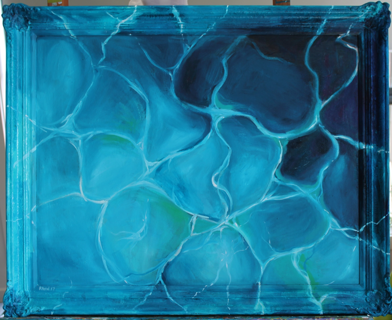 (CreativeWork) Pool Reflections  by Rebecca Read. Oil Paint. Shop online at Bluethumb.