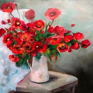 (CreativeWork) Still life with poppies by Gosia Orzechowska. mixed-media. Shop online at Bluethumb.