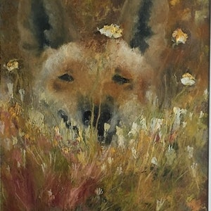 (CreativeWork) Dingo(framed ready to hang)W 45.7 cm x H 58.4cm. by christine forbes. oil-painting. Shop online at Bluethumb.