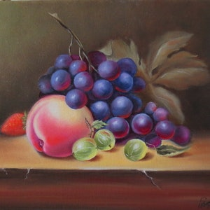 (CreativeWork) Still life with grapes and peach  by Evelina Pastilati. oil-painting. Shop online at Bluethumb.