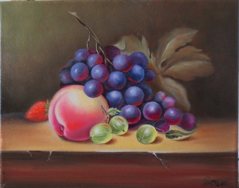 still life with grapes and peach by evelina pastilati paintings for
