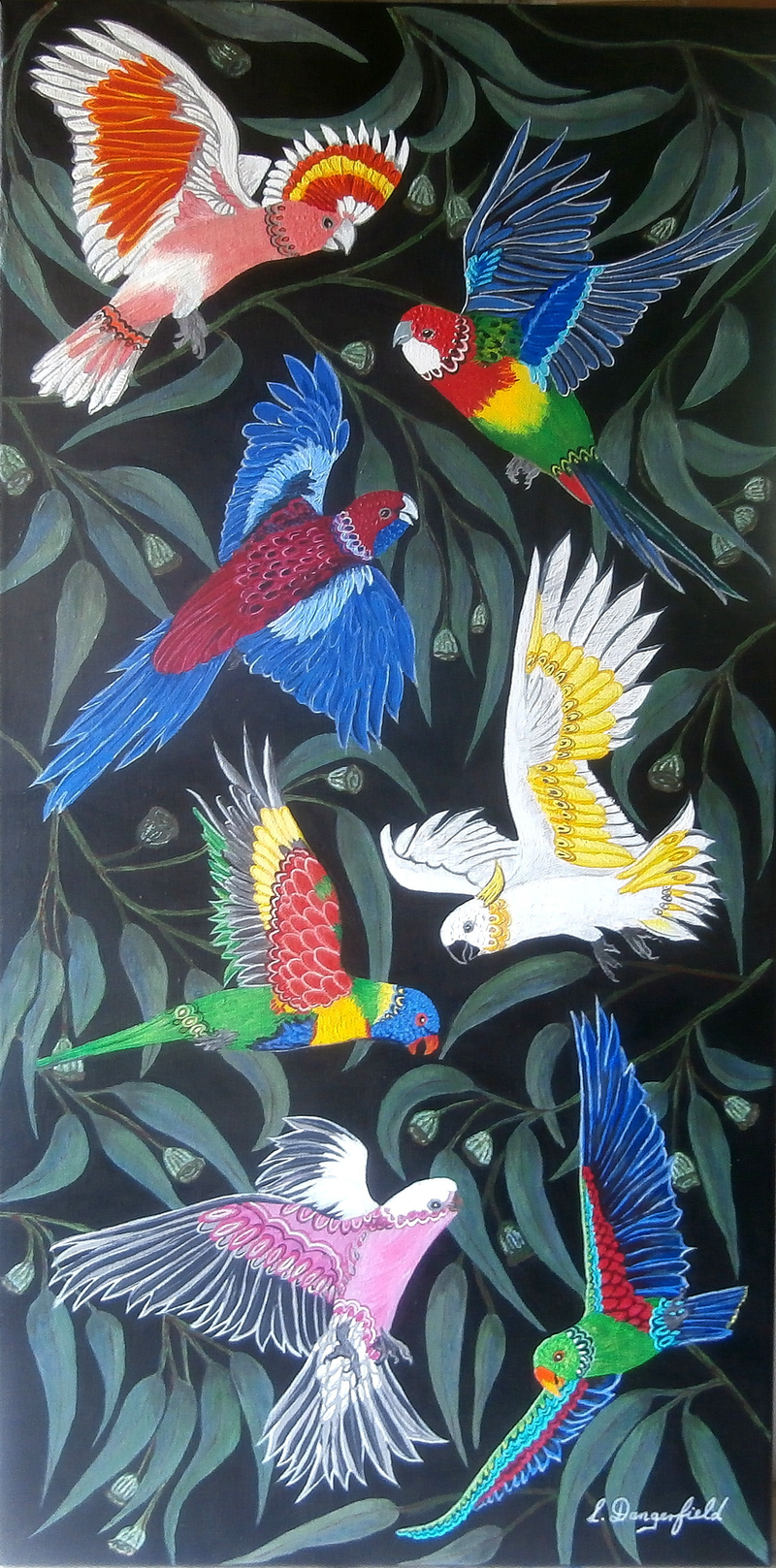 (CreativeWork) BY GUM, FLYIN AUSSIES by Lisa Dangerfield. arcylic-painting. Shop online at Bluethumb.