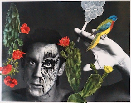 (CreativeWork) Iggy Pop with Spirit Bird: Red Breasted Robin & Botanicals: Opium Poppy & Peyote        by Kelly Sullivan. mixed-media. Shop online at Bluethumb.