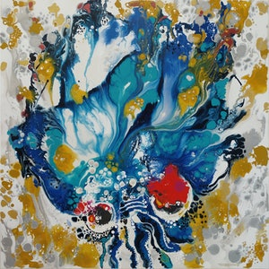 (CreativeWork) Red Eyed Jellyfish by Tina Dinte. arcylic-painting. Shop online at Bluethumb.