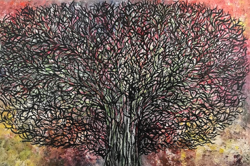 (CreativeWork) Abstract Tree CZ17013 by Carol Zsolt. Acrylic Paint. Shop online at Bluethumb.