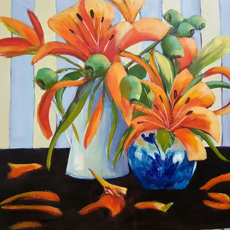(CreativeWork) LILIES AND GUMNUTS by Kathy Karas. Acrylic Paint. Shop online at Bluethumb.