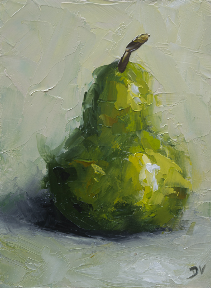(CreativeWork) Still life - Pear by Damien Venditti. oil-painting. Shop online at Bluethumb.