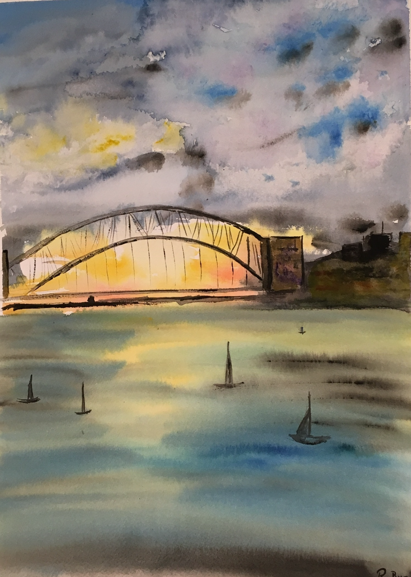 (CreativeWork) Sydney Harbour Sunset  by Ruth Bye. watercolour. Shop online at Bluethumb.