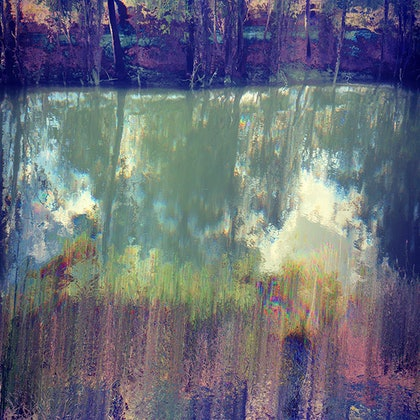 (CreativeWork) Emerald River Glitchscape - from the QLD Glitchscape Series  by Vanessa Bertagnole. photograph. Shop online at Bluethumb.