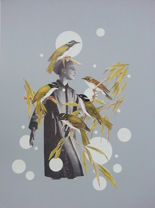 """(CreativeWork) SALE """"What bird is that' -#1 by Karen Coull. Mixed Media. Shop online at Bluethumb."""
