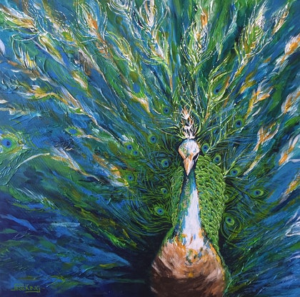 (CreativeWork) Peacock Beauty by Jess King. arcylic-painting. Shop online at Bluethumb.