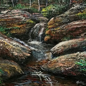 (CreativeWork) WATERFALL SERIES- GOOD FLOW #5 by Margaret HADFIELD. mixed-media. Shop online at Bluethumb.