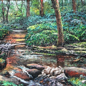 (CreativeWork) WATERFALL SERIES-QUIET RAINFOREST #3 by Margaret HADFIELD. mixed-media. Shop online at Bluethumb.