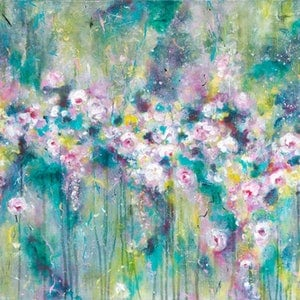 (CreativeWork) Where the Wildflowers Grow 2017 by Di Cox. arcylic-painting. Shop online at Bluethumb.