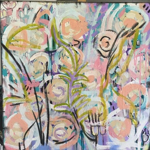 (CreativeWork) Botanica 1 by Marianne Ulbrick. arcylic-painting. Shop online at Bluethumb.