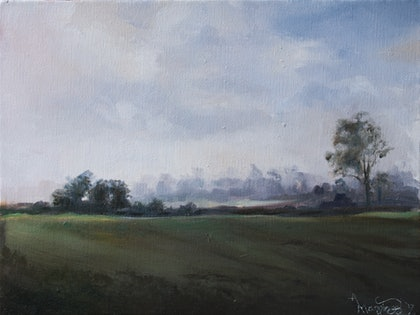 (CreativeWork) Kangaroo Valley Sketch by Annabelle Mannings. oil-painting. Shop online at Bluethumb.