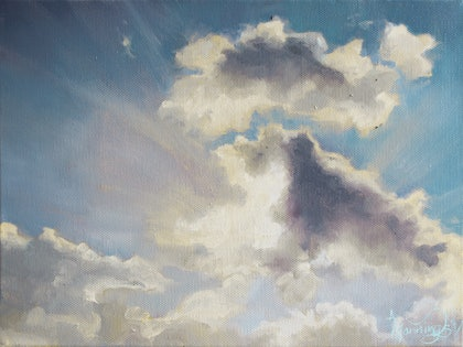 (CreativeWork) Morning Cloud Study by Annabelle Mannings. oil-painting. Shop online at Bluethumb.