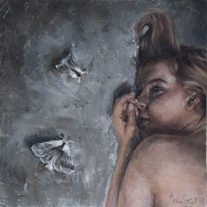 (CreativeWork) Unsteady by Annabelle Mannings. oil-painting. Shop online at Bluethumb.