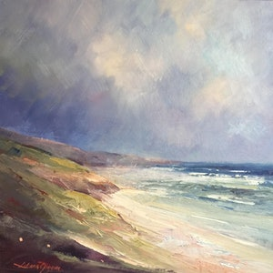 (CreativeWork) Cool day at Portsea Back beach by Liliana Gigovic. oil-painting. Shop online at Bluethumb.