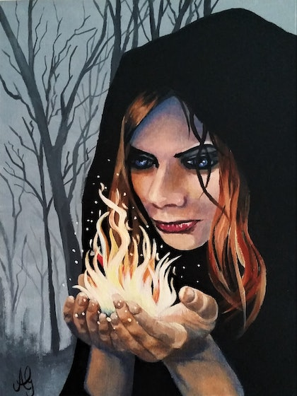 (CreativeWork) Witchery by Anne Gardner. arcylic-painting. Shop online at Bluethumb.