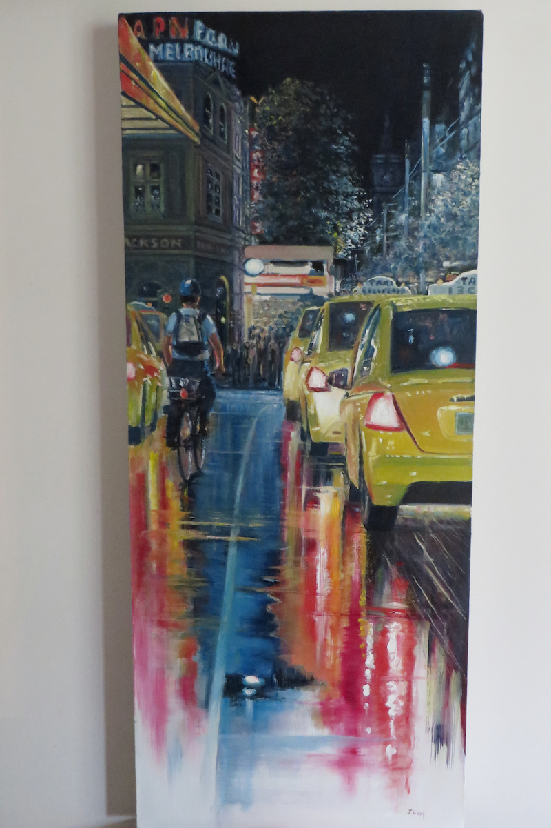 (CreativeWork) Friday Night by Jennifer Viney. oil-painting. Shop online at Bluethumb.