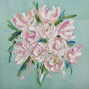(CreativeWork) First Blush - Peonies by Renia Lakomy Edwards. oil-painting. Shop online at Bluethumb.