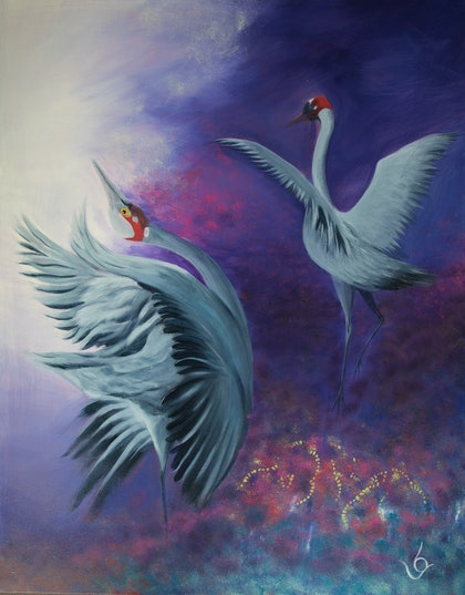 """(CreativeWork) """"LET'S DANCE"""" by Lynne Gehrke. arcylic-painting. Shop online at Bluethumb."""