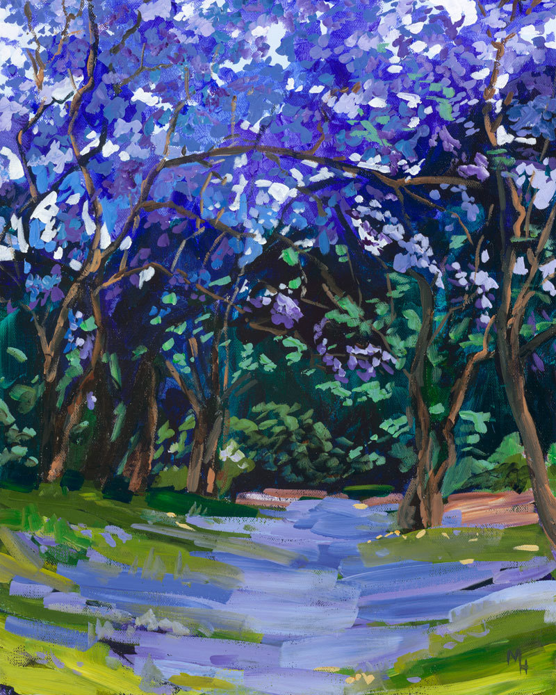 (CreativeWork) Jacarandas 2 by Meredith Howse. arcylic-painting. Shop online at Bluethumb.
