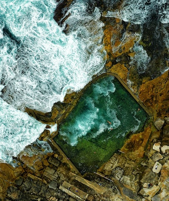 (CreativeWork) Rock swimming pool (Framed) Ed. 1 of 300 by Stuart Chape. Photograph. Shop online at Bluethumb.