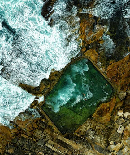 (CreativeWork) Rock swimming pool by Stuart Chape. photograph. Shop online at Bluethumb.