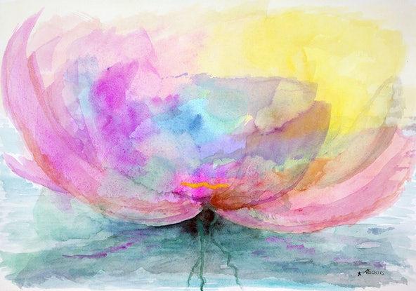 (CreativeWork) Waterlilly in the Light by Tracey-Ann Morris. Watercolour Paint. Shop online at Bluethumb.