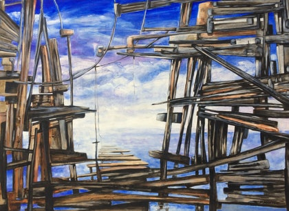 (CreativeWork) Wrecked 2 by Frank Martin. oil-painting. Shop online at Bluethumb.