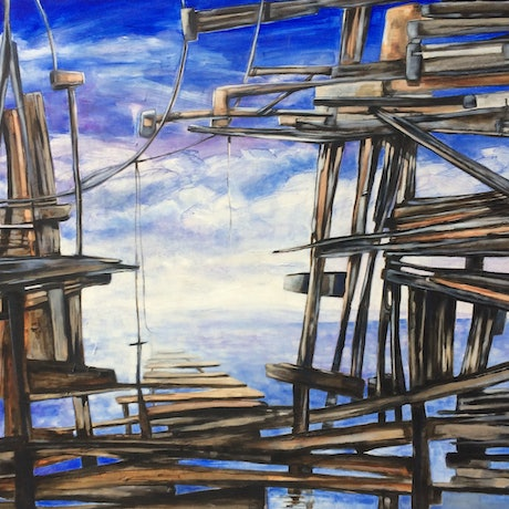 (CreativeWork) Wrecked 2 by Frank Martin. Oil. Shop online at Bluethumb.