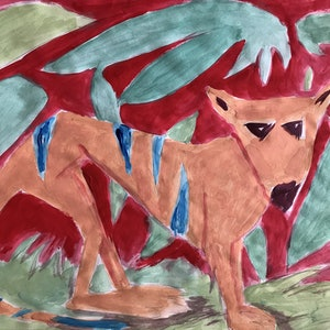 (CreativeWork) Blue-striped Thylacine in a Red and Green Forest by Matt Williams. arcylic-painting. Shop online at Bluethumb.