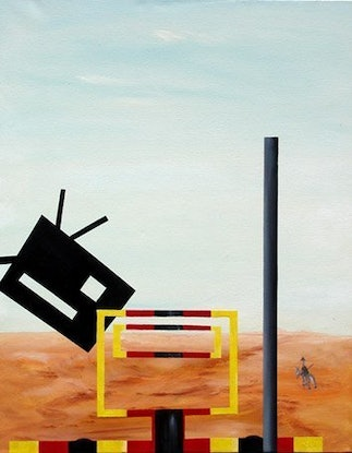 (CreativeWork) Cow Meets Ned Kelly by Garry Arnephy. Oil Paint. Shop online at Bluethumb.