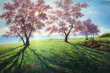 (CreativeWork) The beach of Jacaranda flowers by Alex Mo. oil-painting. Shop online at Bluethumb.