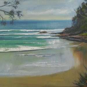 (CreativeWork) Little Cove, Noosa - Seascape by Anne Strambi. oil-painting. Shop online at Bluethumb.