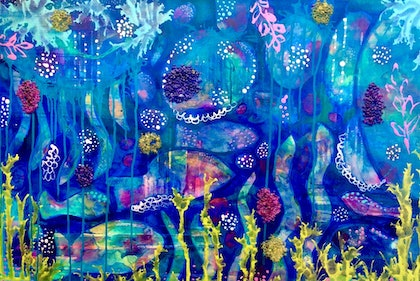 (CreativeWork) Blue Fishes by Paddy Colahan. mixed-media. Shop online at Bluethumb.