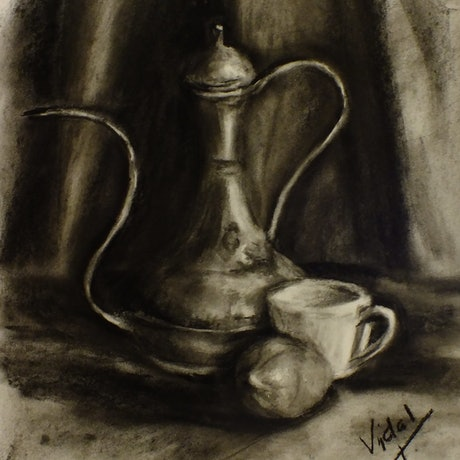(CreativeWork) Still life charcoal drawing - kettle, lemon and coffee cup by Christopher Vidal. Drawings. Shop online at Bluethumb.