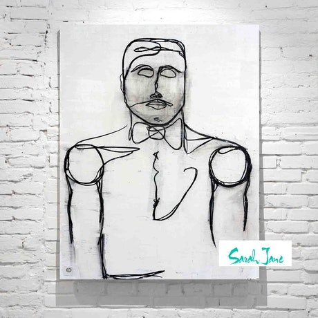 (CreativeWork) Line Art - Linear I - Suave 1920s Gentleman  by Sarah Jane __. Acrylic Paint. Shop online at Bluethumb.