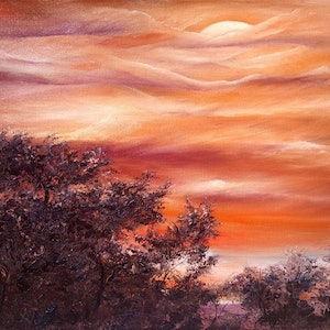 (CreativeWork) Sunset South Africa by Garry Arnephy. oil-painting. Shop online at Bluethumb.