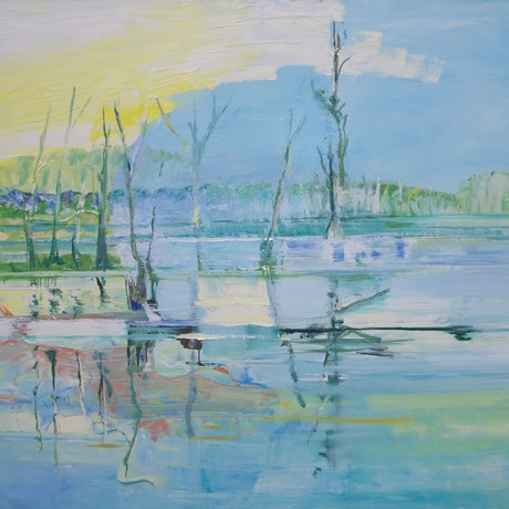 (CreativeWork) Reflections by Roland Weight. Oil Paint. Shop online at Bluethumb.