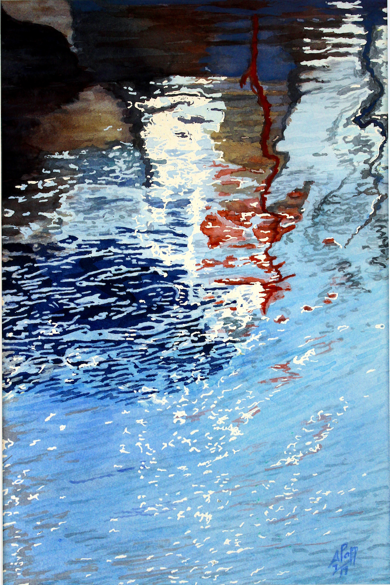 (CreativeWork) Marina reflections 1 by Abramo Papp. watercolour. Shop online at Bluethumb.