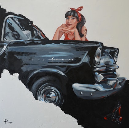 (CreativeWork) RHONDA feat. 1960 FB Holden by Rosa Fedele. oil-painting. Shop online at Bluethumb.
