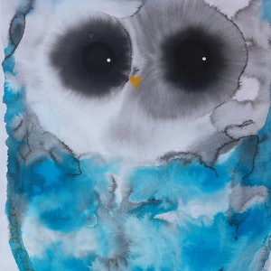 (CreativeWork) Owl 146 by Julie Sutherland. mixed-media. Shop online at Bluethumb.
