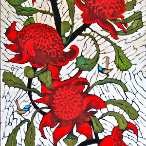 (CreativeWork) Waratahs and Friends by Michele Forbes. arcylic-painting. Shop online at Bluethumb.