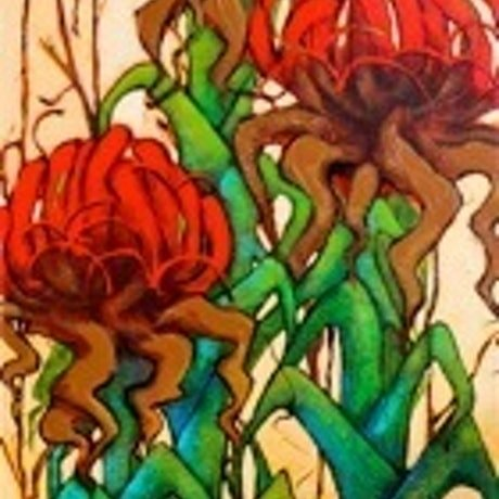 (CreativeWork) Gymea Lilies by Michele Forbes. Acrylic Paint. Shop online at Bluethumb.