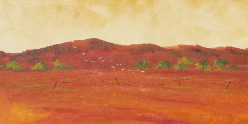 (CreativeWork) Cockatoos Flinders Ranges by Andrew Demaine. Oil Paint. Shop online at Bluethumb.
