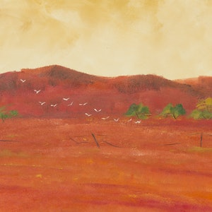 (CreativeWork) Cockatoos Flinders Ranges by Andrew Demaine. oil-painting. Shop online at Bluethumb.